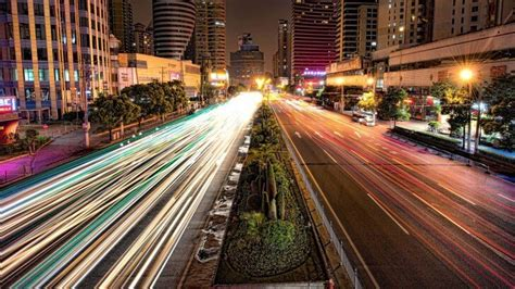 Busy Road in Shanghai at Night Wallpaper - City