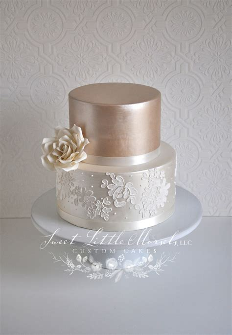 Simple Two Tone Champagne Wedding Cake - CakeCentral