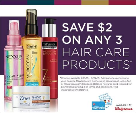 Walgreens -Save $2 Off 3 Tresemme, Dove, Suave Hair Care